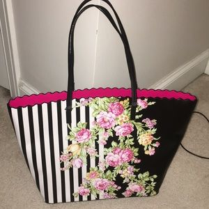 Betsey Johnson Stripe Floral Tote